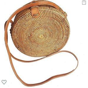 Tan woven round bag